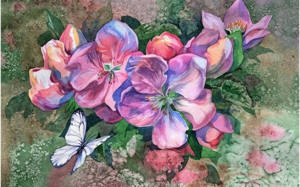 Artistic Painting Flower Butterfly Colorful Watercolor HD Wallpaper | Background Image