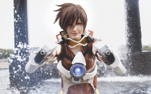 Women Cosplay Overwatch Tracer HD Wallpaper   Background Image