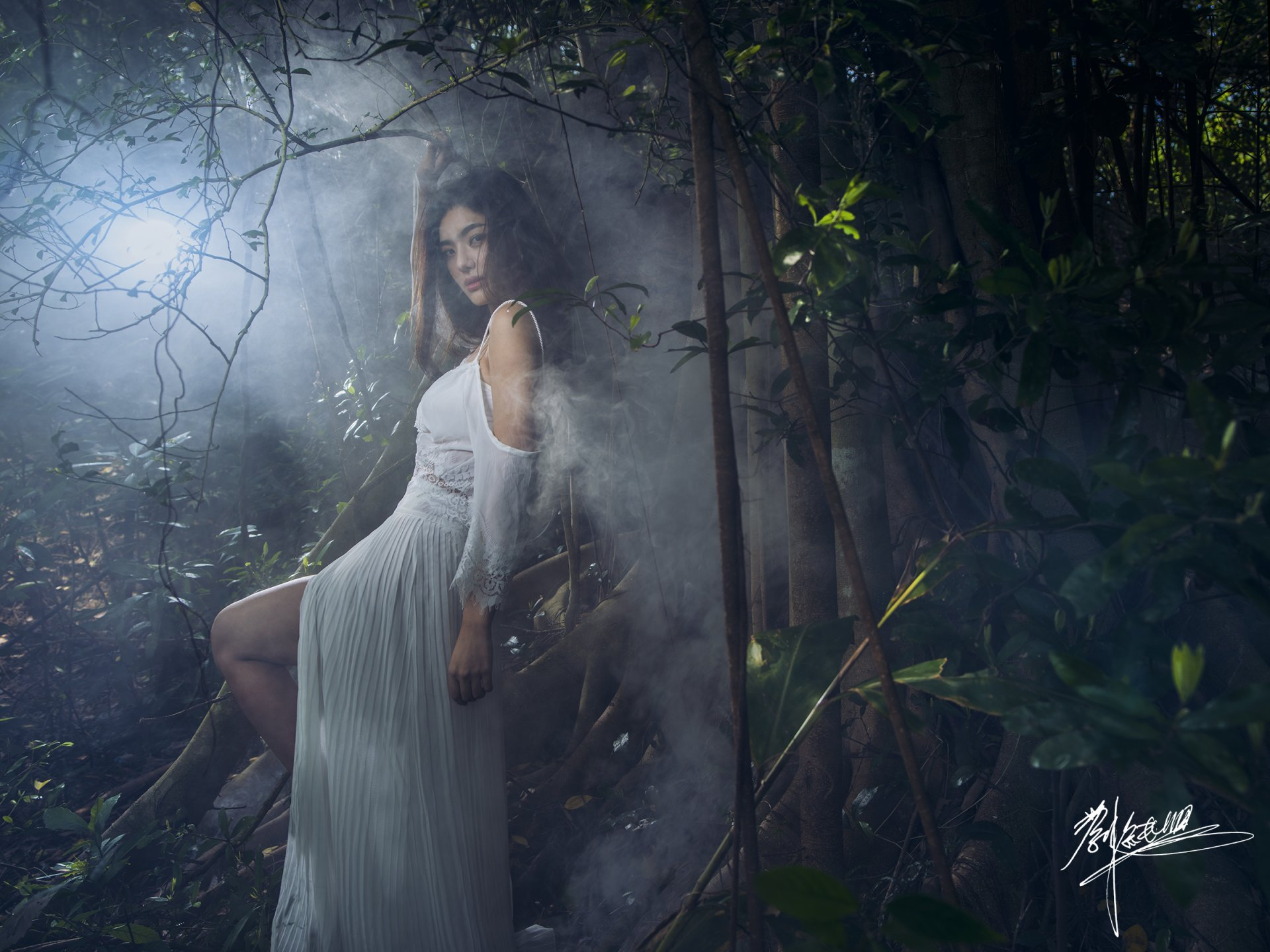 Women - Asian  Fog Girl Jungle Woman Model White Dress Smoke Brunette Wallpaper