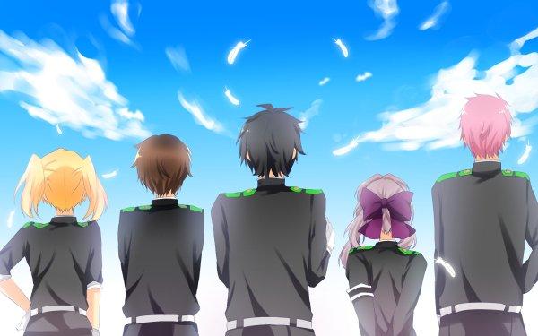 Anime Seraph of the End Shinoa Hīragi Yūichirō Hyakuya Shihō Kimizuki Mitsuba Sangū Yoichi Saotome Black Hair Blonde Pink Hair Purple Hair Brown Hair Sky Cloud Uniform HD Wallpaper | Background Image