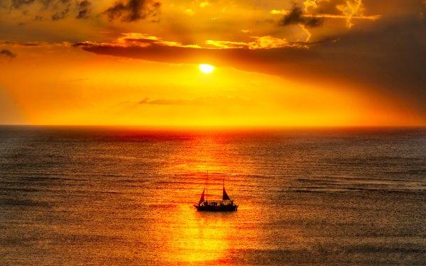 Vehicles Sailboat Sunset Caribbean HDR Ocean Seascape Sailing Horizon HD Wallpaper | Background Image