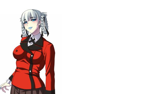Anime Kakegurui Kirari Momobami White Hair Braid Short Hair Blue Eyes HD Wallpaper | Background Image
