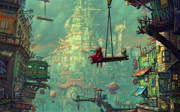 Fantasía Ciudad Little Girl Edificio Fondo de pantalla HD | Fondo de Escritorio