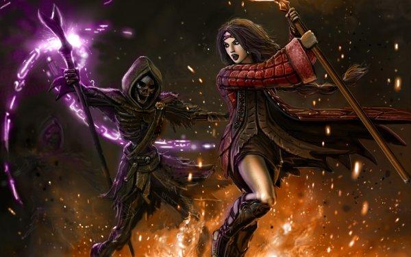 Fantaisie Magique Fight Sombre Squelette Sorcière Staff Long Hair Black Hair Flamme Fond d'écran HD | Arrière-Plan