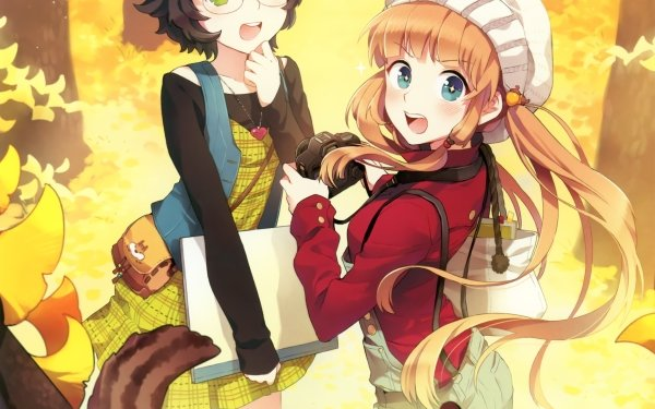 Anime Original Short Hair Long Hair Blonde Twintails Brown Hair Hat Glasses Camera Chipmunk Green Eyes Blue Eyes Bag HD Wallpaper | Background Image