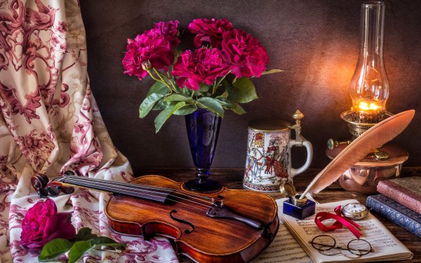 Photography Still Life Flower Violin Stein Oil Lamp Sheet Music Quill Book Glasses HD Wallpaper | Background Image
