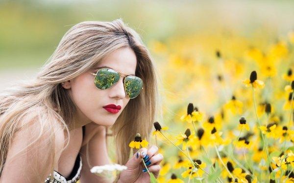 Women Model Models Blonde Sunglasses Lipstick Yellow Flower Depth Of Field HD Wallpaper | Background Image