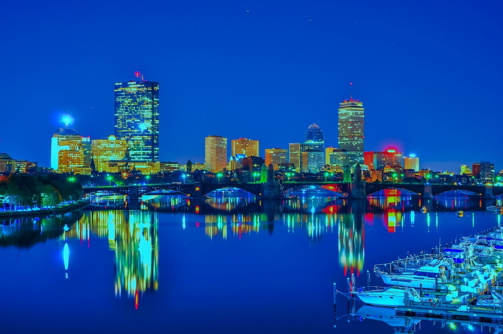 Man Made - Boston  Night City USA Reflection Building Skyscraper Wallpaper