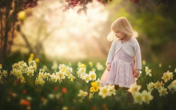 Photography Child Blonde Summer Little Girl Daffodil Depth Of Field Flower HD Wallpaper | Background Image