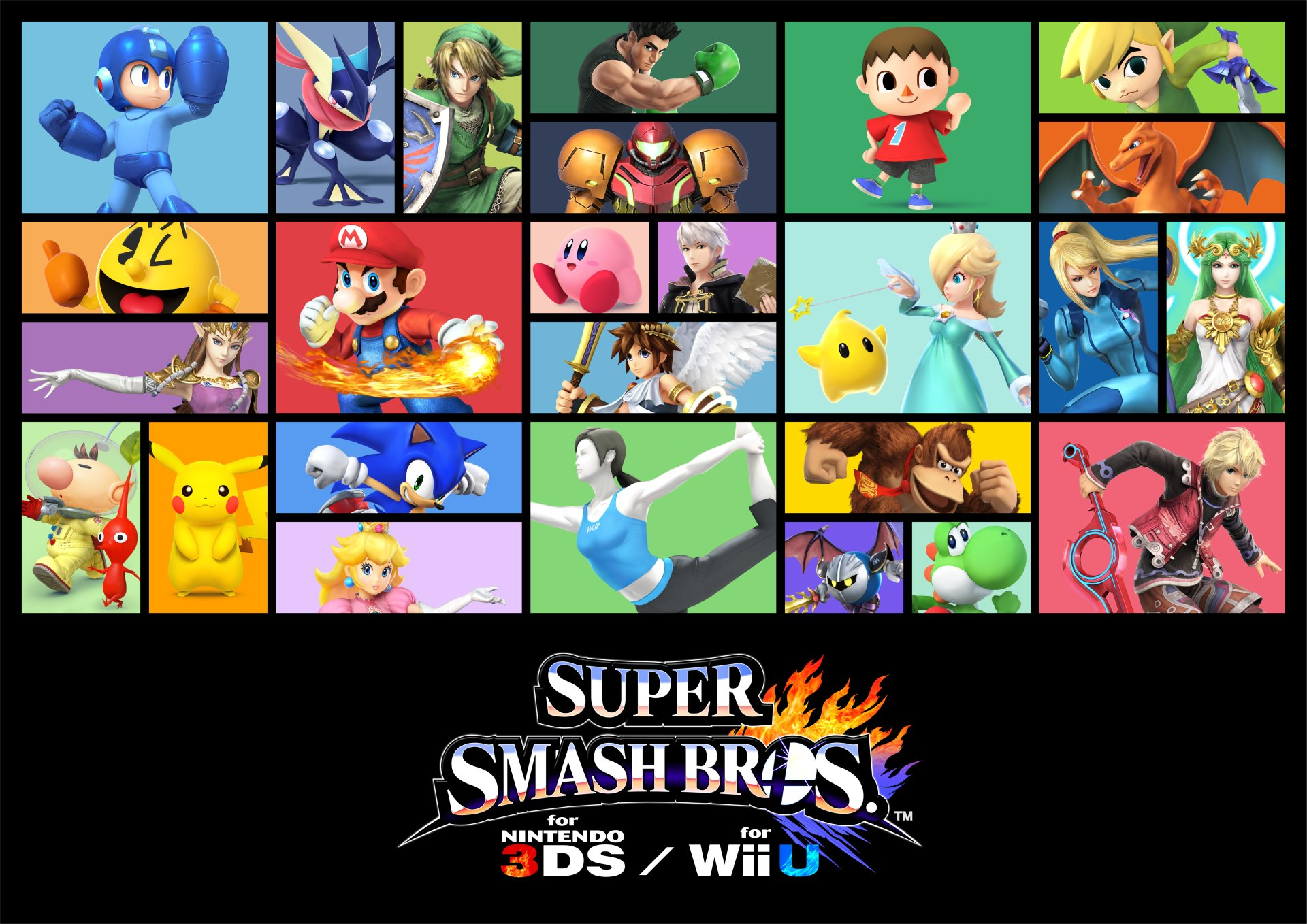 Video Game - Super Smash Bros. for Nintendo 3DS and Wii U  Mega Man Greninja (Pokémon) Link Little Mac (Punch-Out!!) Samus Aran Villager (Animal Crossing) Toon Link Pac-Man Mario Kirby Robin (Fire Emblem) Pit (Kid Icarus) Rosalina (Mario) Palutena (Kid Icarus) Zelda Olimar (Pikmin) Pikachu Sonic the Hedgehog Shulk (Xenoblade) Meta Knight Donkey Kong Wii Fit Trainer Yoshi Princess Peach Super Smash Bros. Collage Charizard (Pokémon) Wallpaper