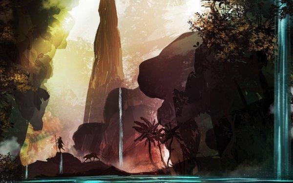 Fantaisie Waterfall Animaux Nature Fond d'écran HD | Image