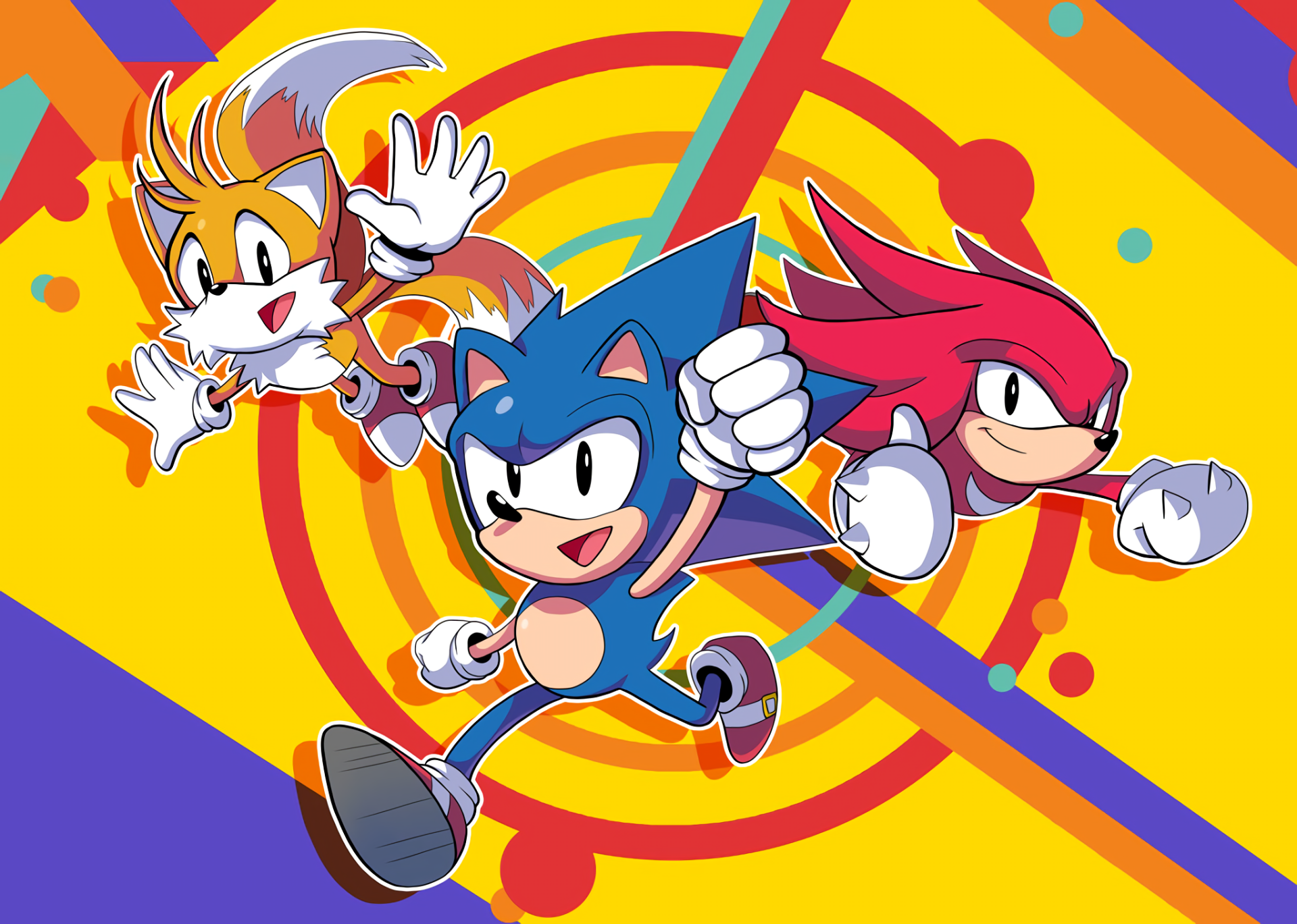 "Video Game - Sonic Mania  Sonic the Hedgehog Knuckles the Echidna Miles ""Tails"" Prower Wallpaper"