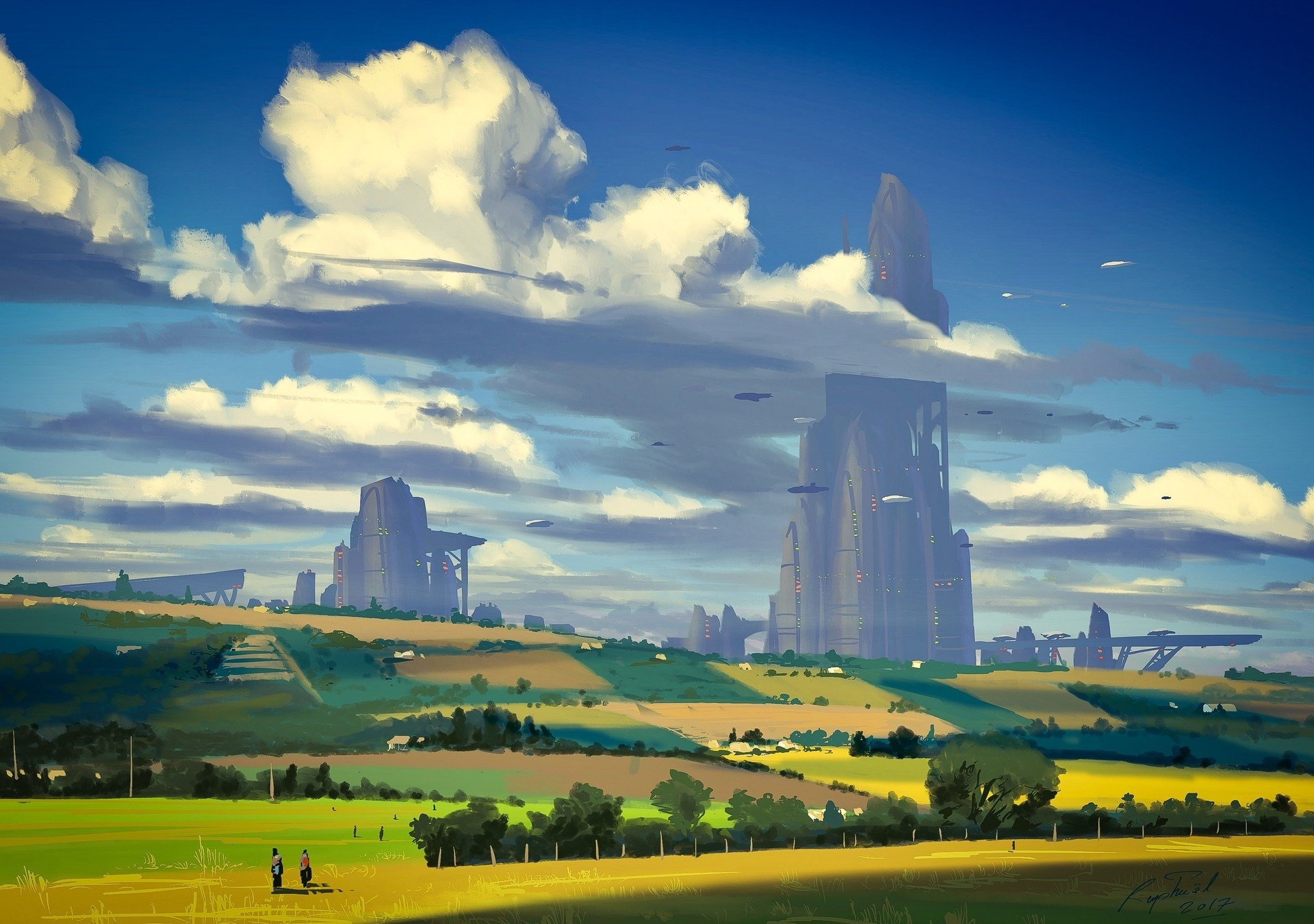 Sci Fi - Landscape  Skyscraper Sci Fi Countryside Building Tree Cloud Sky Wallpaper