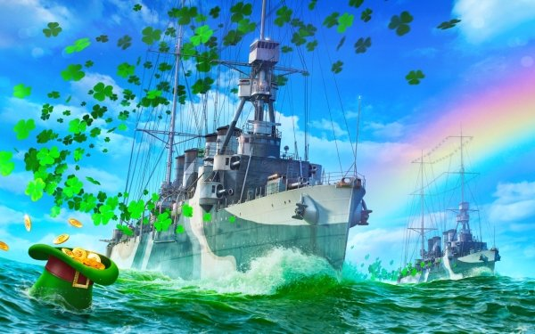 Video Game World of Warships Warships Warship St. Patrick's Day HD Wallpaper | Background Image