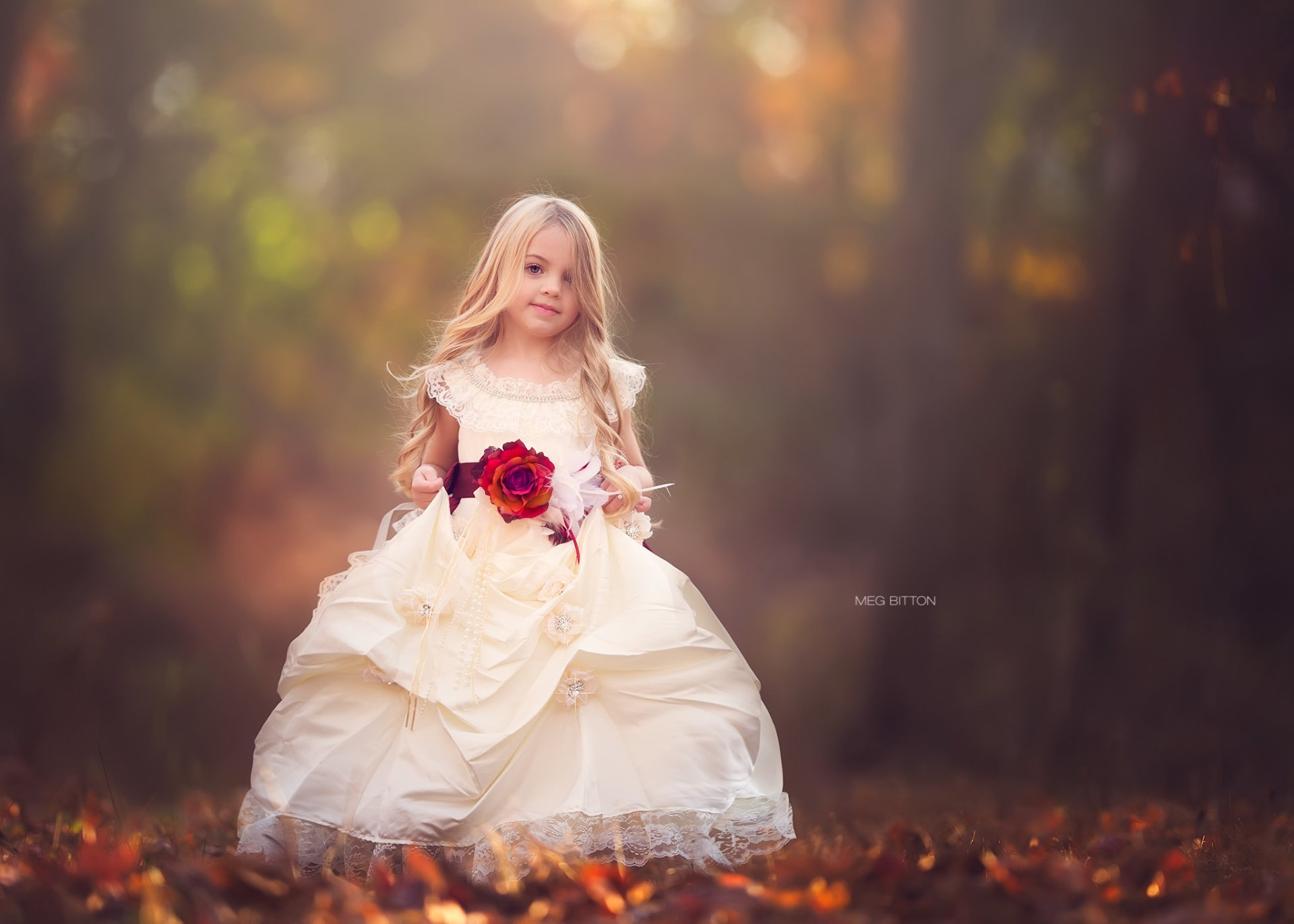 Cute Little Girl With Rose Hd Wallpaper Background Image
