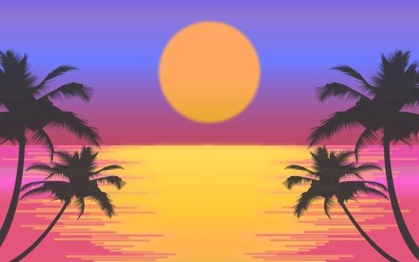 Artistic Retro Palm Tree Sun HD Wallpaper | Background Image