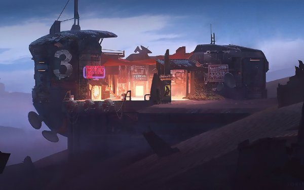 Sci Fi Building Buildings Neon Sign Dark HD Wallpaper | Background Image
