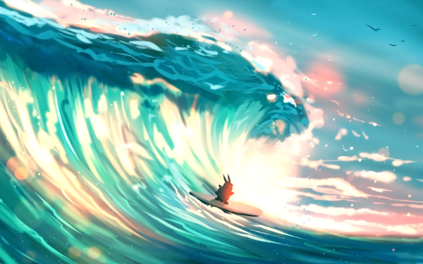 Fantasy Animal Fantasy Animals Bunny Wave Surfboard Surfing HD Wallpaper   Background Image