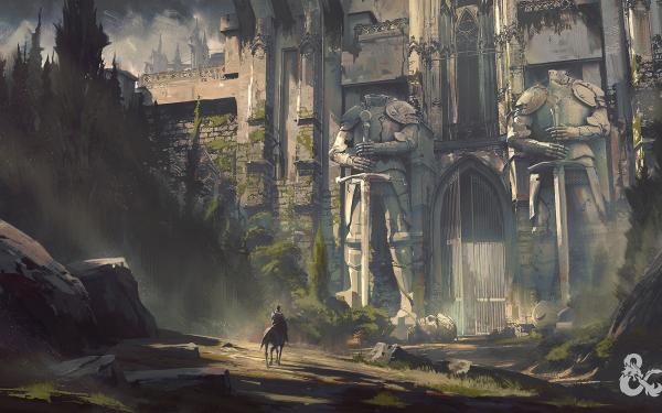 Fantasy Castle Castles Statue Horse Giant Landscape Building Gate HD Wallpaper | Background Image
