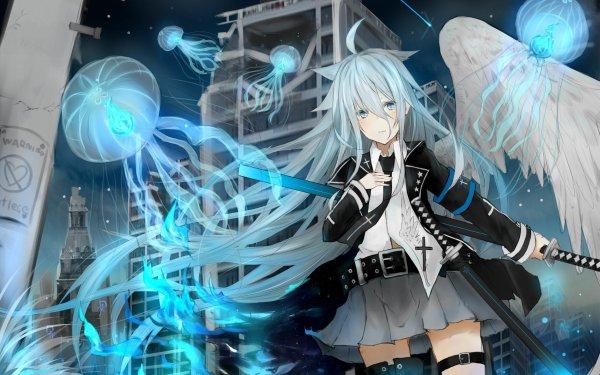 Anime Original Nekomimi White Hair Jellyfish Wings Katana Blue Eyes HD Wallpaper   Background Image