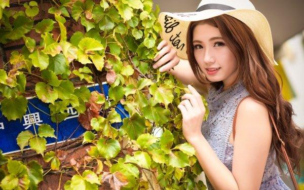 Women Asian Woman Model Girl Brunette Hat Ivy HD Wallpaper | Background Image