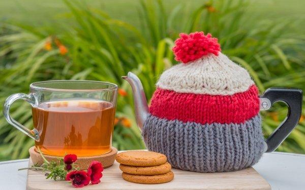 Food Tea Teapot Cookie Glass HD Wallpaper | Background Image