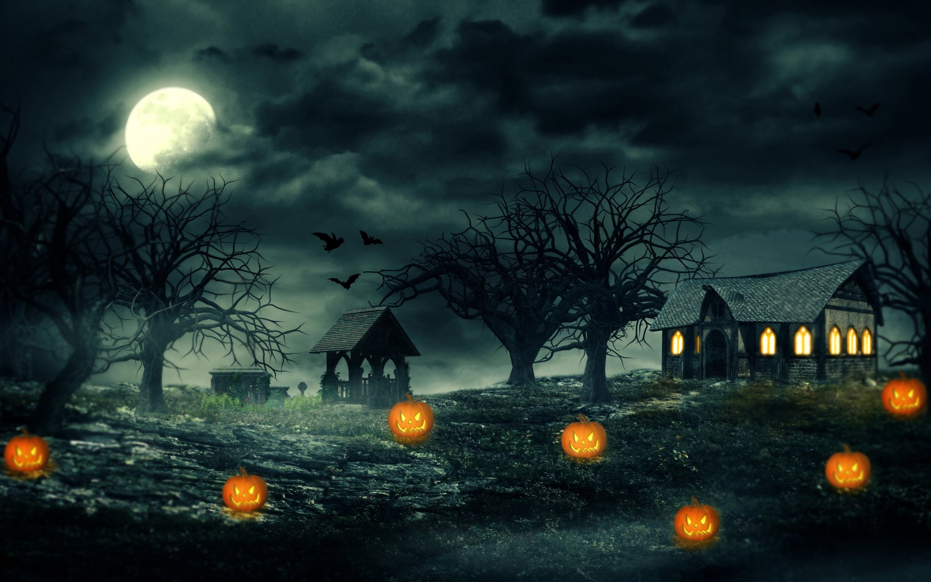 Holiday - Halloween  Holiday Pumpkin Jack-o'-lantern Haunted House Night Tree Moon Wallpaper