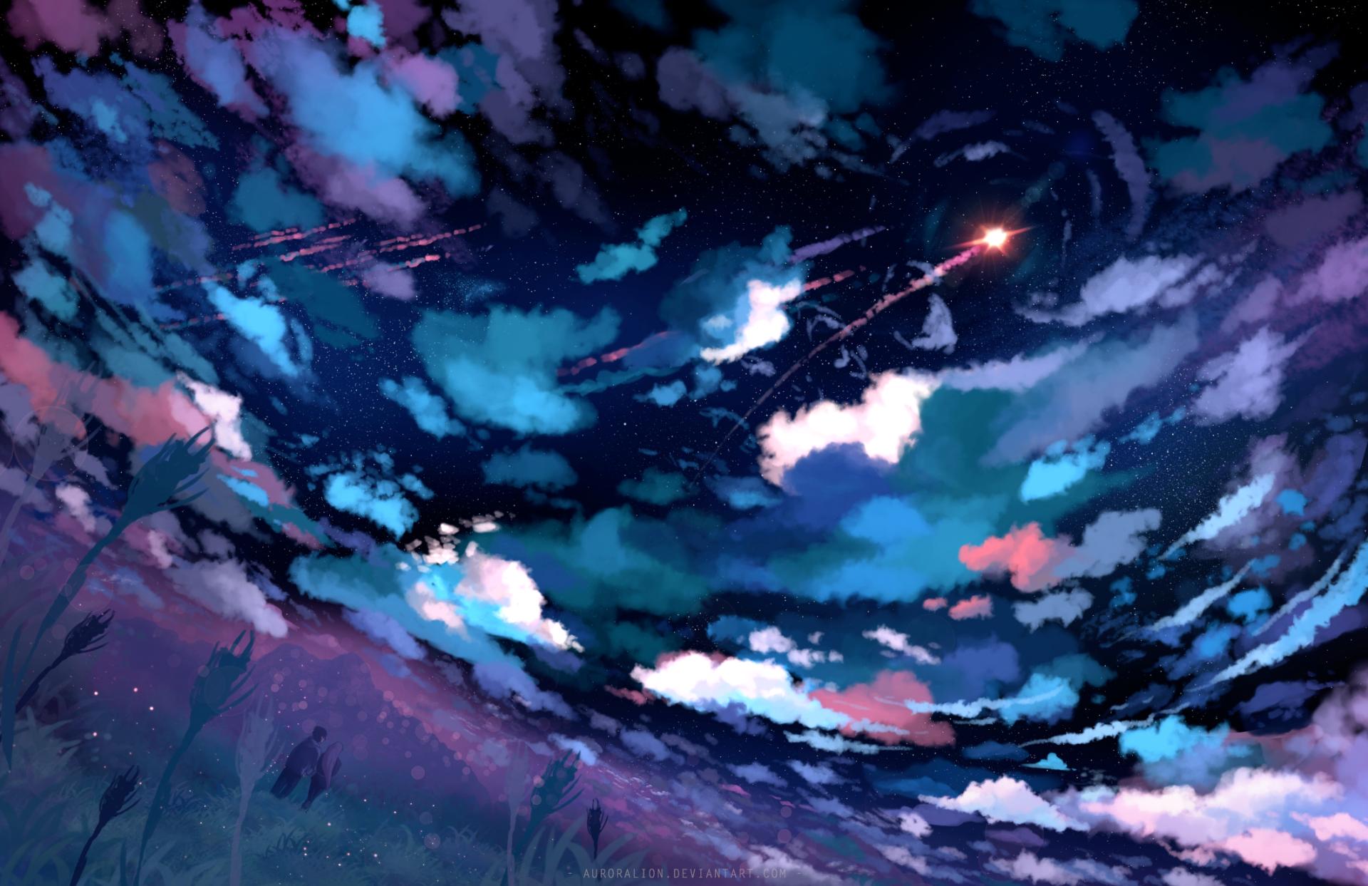 动漫 - 原创  天空 云 夜晚 星空 Couple Rocket 壁纸