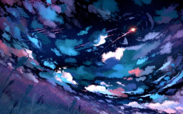 Anime Original Sky Cloud Night Stars Rocket Couple HD Wallpaper | Background Image