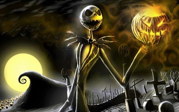 Movie The Nightmare Before Christmas Holiday Halloween Skeleton Jack-O'-Lantern Cemetery HD Wallpaper | Background Image