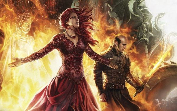 Fantasy A Song Of Ice And Fire Witch Sword Fire Red Hair Dress Melisandre Stannis Baratheon HD Wallpaper | Background Image