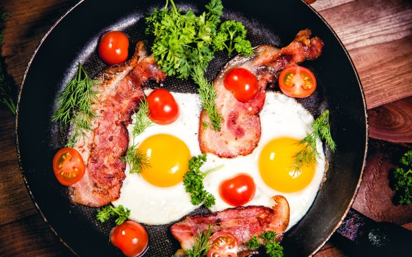 Food Breakfast Still Life Tomato Bacon Egg HD Wallpaper   Background Image