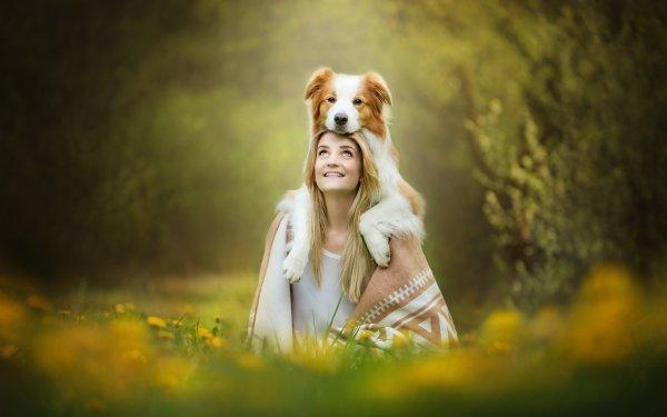 Women Mood Model Blonde Depth Of Field Border Collie Dog Smile HD Wallpaper   Background Image