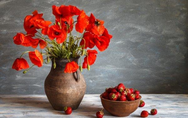 Photography Still Life Flower Strawberry Fruit Vase Red Flower Poppy HD Wallpaper | Background Image