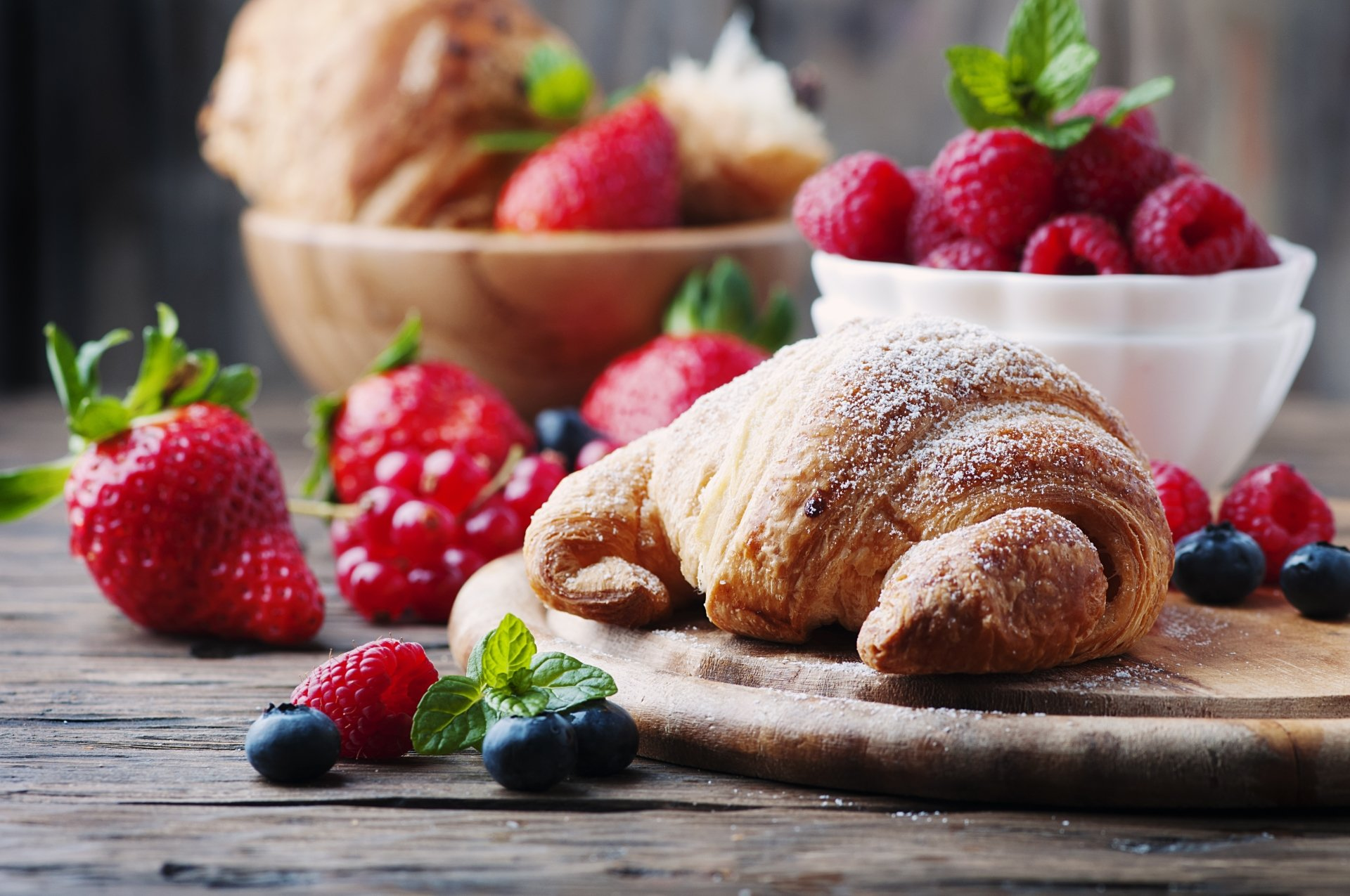 Food - Breakfast  Croissant Still Life Fruit Berry Strawberry Raspberry Blueberry Wallpaper