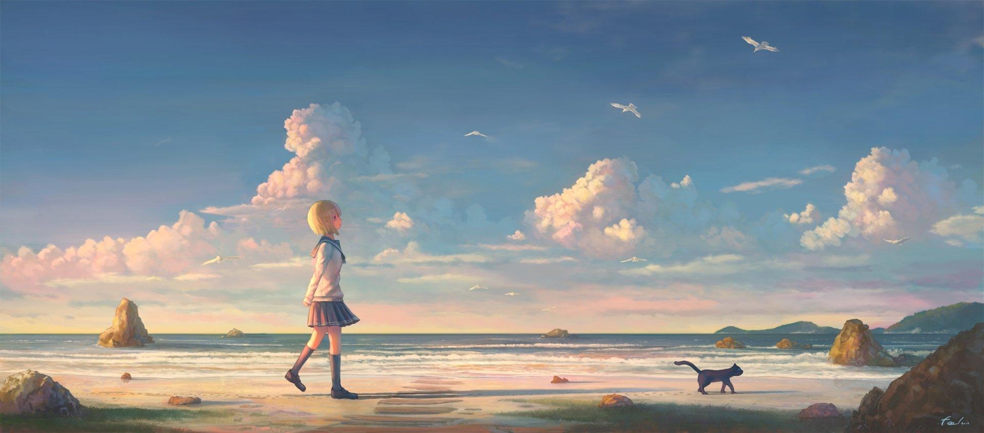 Anime Girls Beach Wallpaper HD 4k