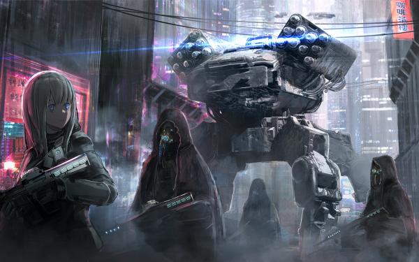 Anime Original Sci Fi Cloak Gun Weapon Dystopian HD Wallpaper | Background Image