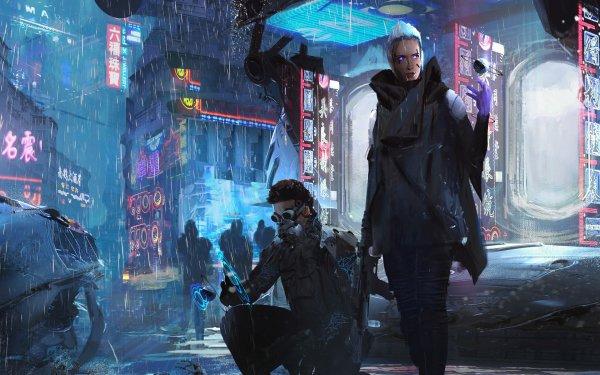 Sci Fi Cyberpunk Rain Neon HD Wallpaper | Background Image