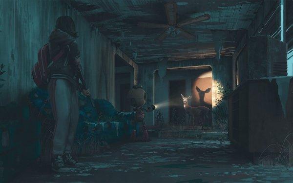 Sci Fi Post Apocalyptic Girl Night Robot Deer HD Wallpaper | Background Image