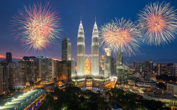 Photography Fireworks Colorful Malaysia City Kuala Lumpur HD Wallpaper   Background Image