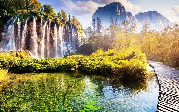 Earth Waterfall Waterfalls Boardwalk Nature HD Wallpaper | Background Image