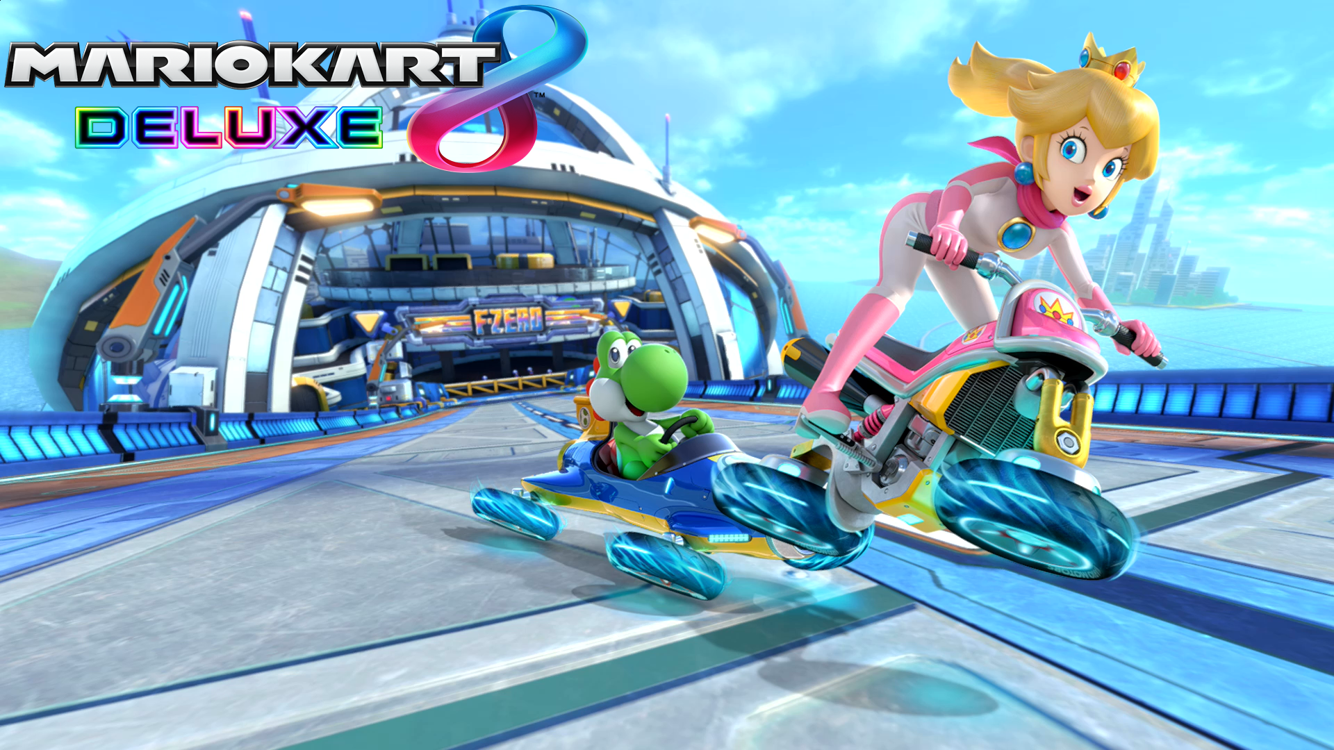 Mario Kart 8 Background: Mario Kart 8 Deluxe Peach & Yoshi Wallpaper HD Wallpaper