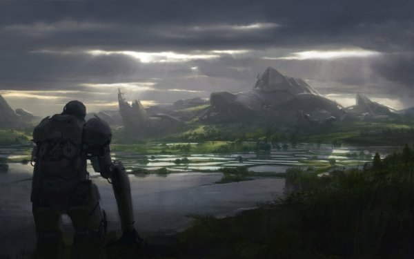 Sci Fi Landscape Mountain Robot HD Wallpaper   Background Image