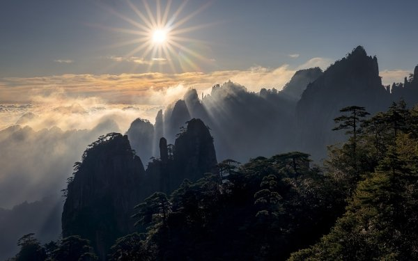 Earth Mountain Mountains Nature Sun Sunbeam Cliff Fog Horizon HD Wallpaper | Background Image