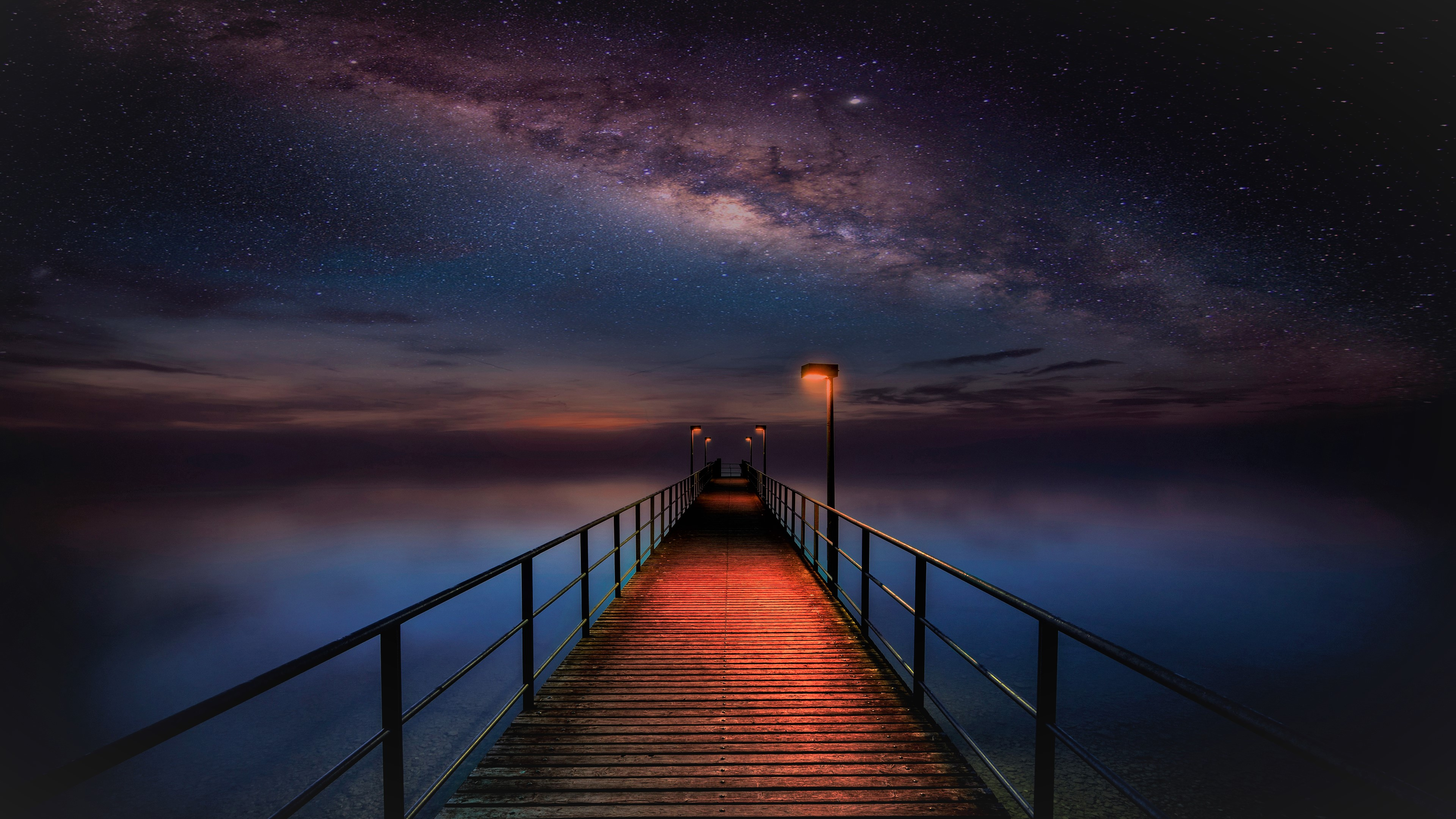 Ocean pier under milky way sky 4k ultra hd wallpaper for Night sky wallpaper 4k