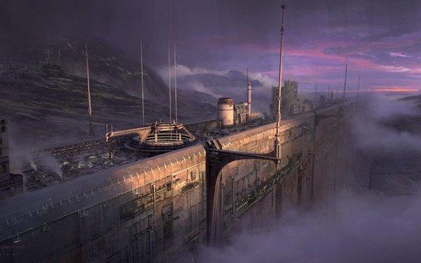Science Fiction Paysage Mur Brouillard Fond d'écran HD | Image