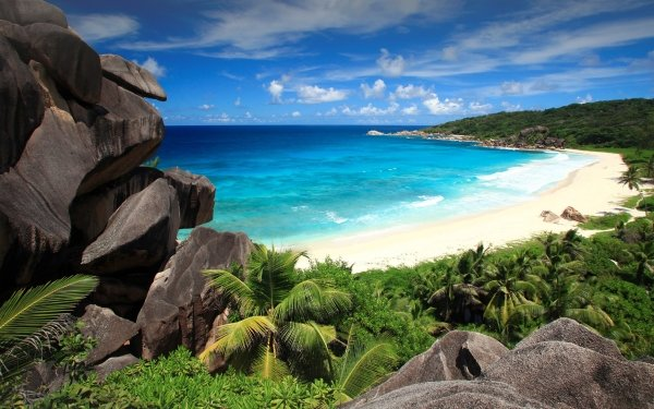 Tierra/Naturaleza Playa Seychelles Océano Sea Rock Horizon Fondo de pantalla HD | Fondo de Escritorio