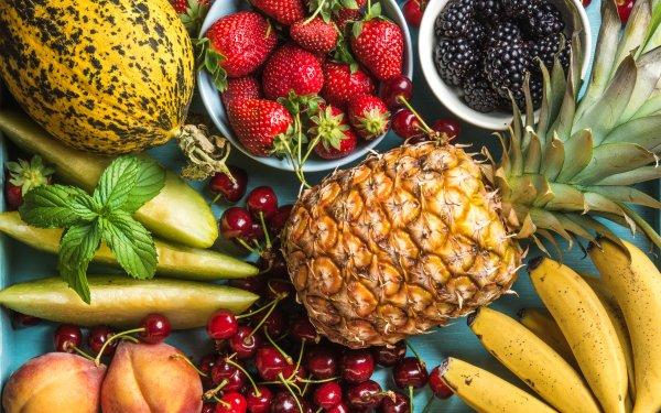 Food Fruit Fruits Strawberry Cherry Pineapple Peach Blackberry Banana Melon HD Wallpaper | Background Image
