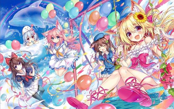 Anime Original Chica Nekomimi Rubia Pink Hair Brown Hair White Hair Flor Girasol Dress School Uniform Delfin Globo Arco iris Fondo de pantalla HD | Fondo de Escritorio