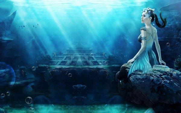 Fantasi Mermaid Ship Sunlight Water Blue Dress Rock Bubble Underwater HD Wallpaper | Background Image